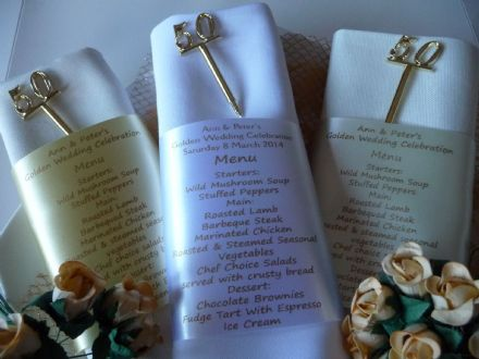 Golden Wedding Anniversary Menu and place setting personalised onto ribbon for Napkin